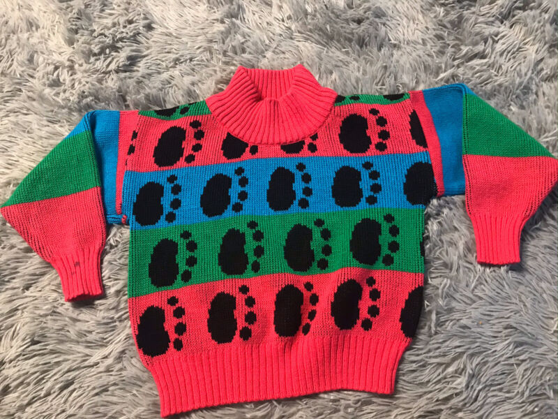 Vintage Toddler 80s Sweater Color Block Paws Pink Blue Green Girls