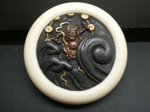 Antique Japanese Oni Ogre Shakudo Menuki  Kagamibuta Netsuke Two Piece Button