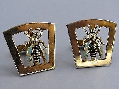 Excellent Mens Bee Bug Beetle CUFFLINKS Costume Vintage Jewelry F79](Mens Bee Costume)