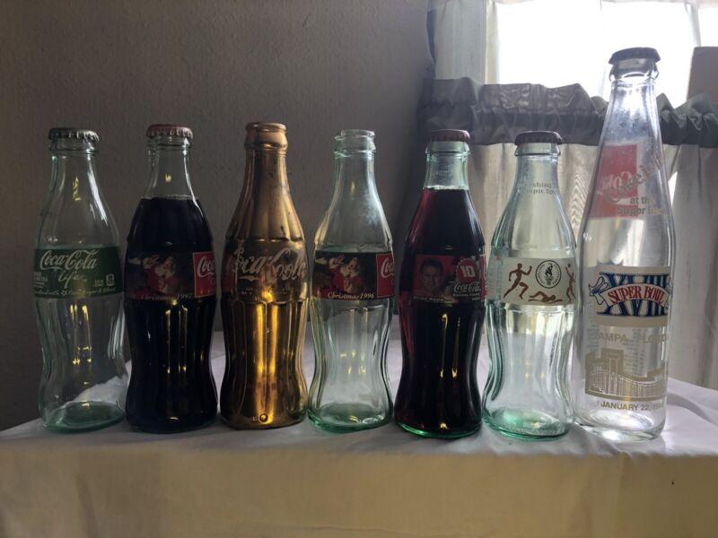 vintage coke cola bottles Lot Of 7