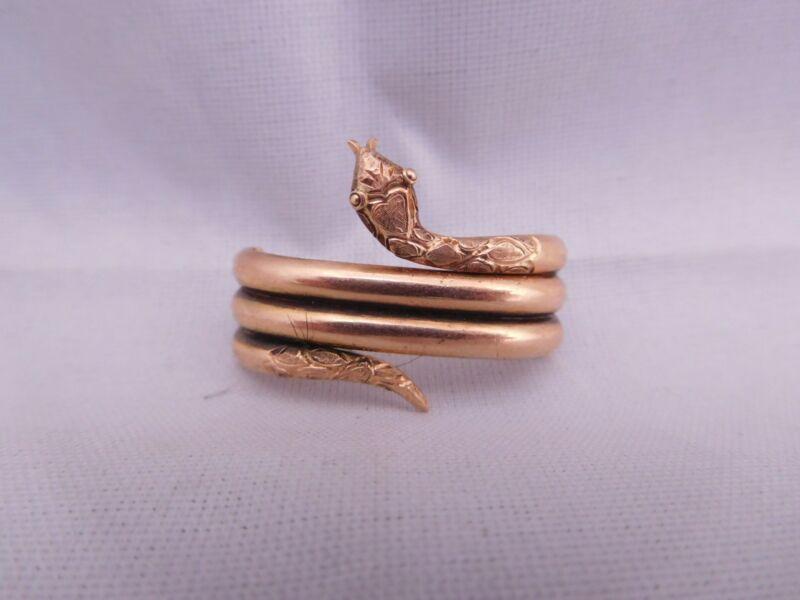 LOVELY VICTORIAN 14K ROSE GOLD FIGURAL SNAKE SERPENT SCARF CLIP