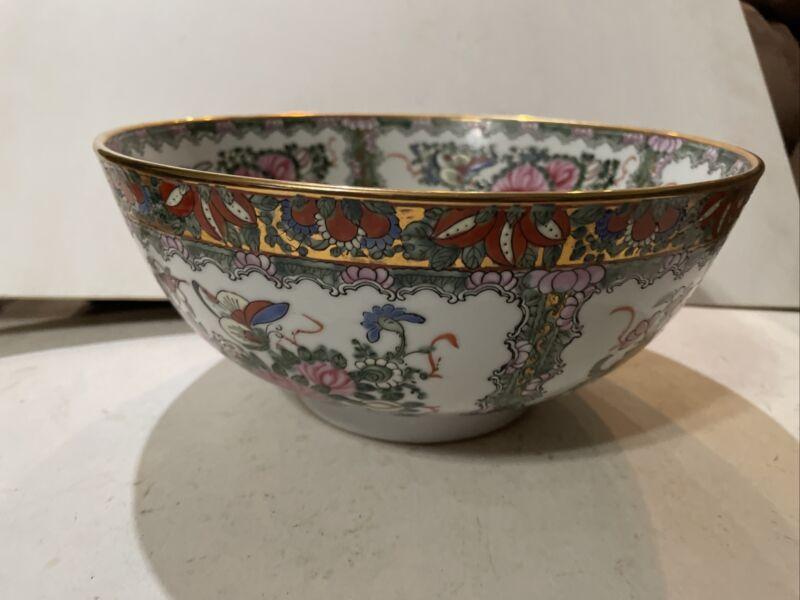 "Andrea by Sadek Striking 10"" Famille Rose Birds, Butterflies, Floral, Gilt Bowl"