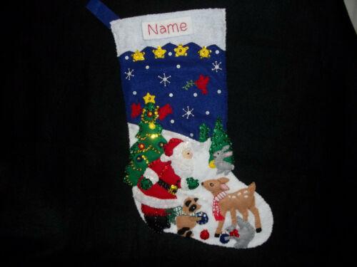 """Woodland Santa Handmade Felt Stocking Personalized Finished Complete Lined 18"""""""