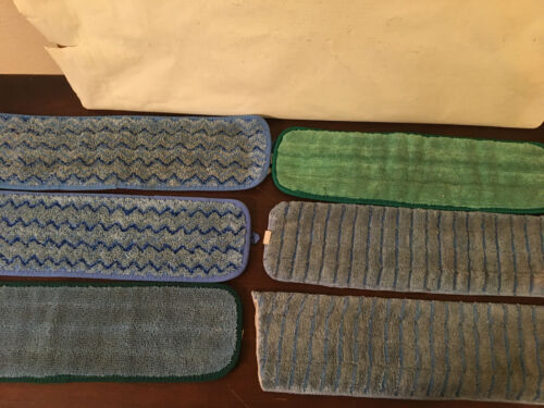 """Lot of 6 Damp Room Mop Pads Heads, 18"""", Mix of brands, Hygen, others"""