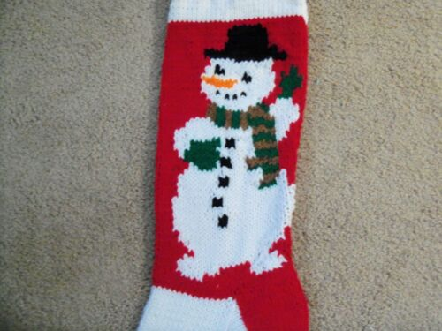 HAND KNITTED CHRISTMAS STOCKING SNOWMAN