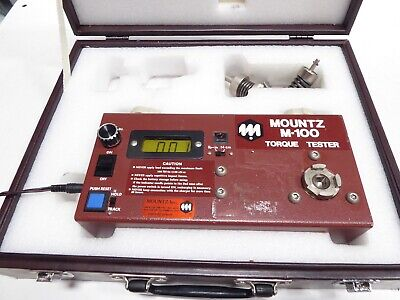 Mountz M-100 Torque Tester 0 To 100 Lbf-in Case 2 Adapters Battery Charger