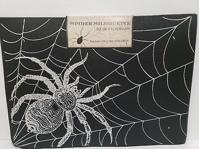 Halloween CREEPY SPIDER WEB Vinyl Black Silver Placemats Decor set of 4
