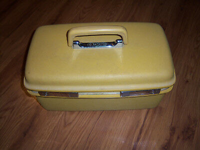 NICE HTF VTG Samsonite Concord Harvest Yellow Gold Hard-side Travel Makeup Case