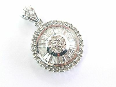 - 18Kt Multi Shape Diamond Circle White Gold Jewelry Pendant .95CT