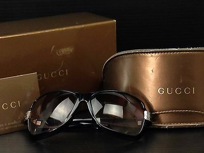 Auth GUCCI Plastic Sunglasses Deep Dark Brown Vintage 6K080090m