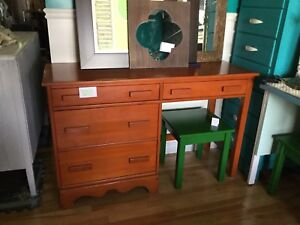 Stained solid wood desk