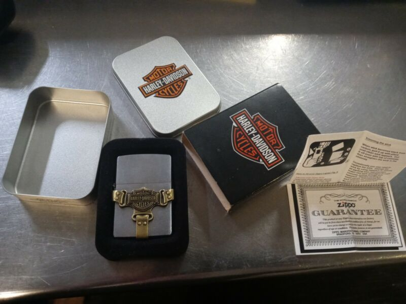 Vintage NOS Harley Davidson Bootstrap Buckle Brass & Stainless Zippo