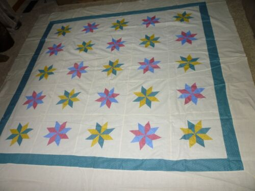 ANTIQUE 8 POINTED STAR QUILT TOP CHROME YELLOW,LANCASTER BLUE, PINK, ON MUSLIN