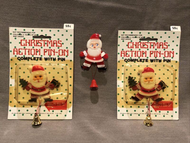 Lot of 3 VTG Plastic SANTA Christmas Pins Pull String Bell 🔔 Hong Kong