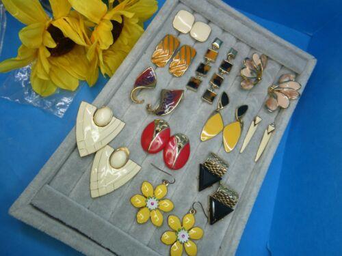 Vtg High End Gold Fall Enamel Brown TAT AVON Orange Black Pierced Earring Lot