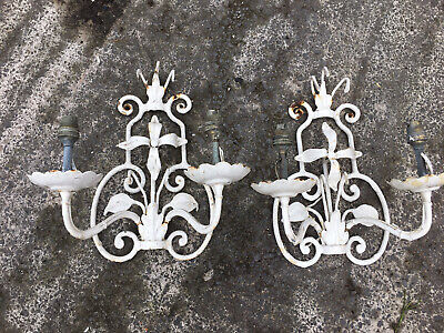 Handmade Blacksmith French Gothic Heavy Wrought Iron Wall Light Sconce Flower