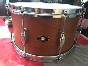 caisse claire snare DUNETT Georges H. Way 14x8 mahogany payé 875