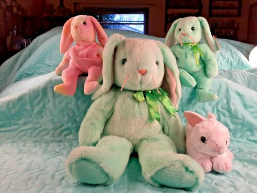 "Lot of 4 Beanie Babies Bunny Rabbits 1 Large 13""  3 w/  original tags  1990"