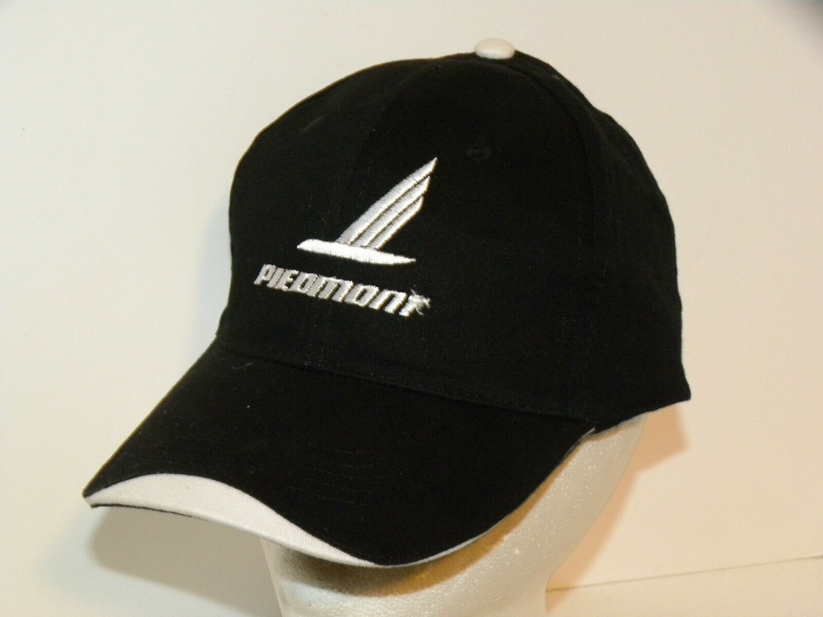 Piedmont Airlines logo  cap AWESOME BLCK AND WHITE WITH VELCRO BACKS
