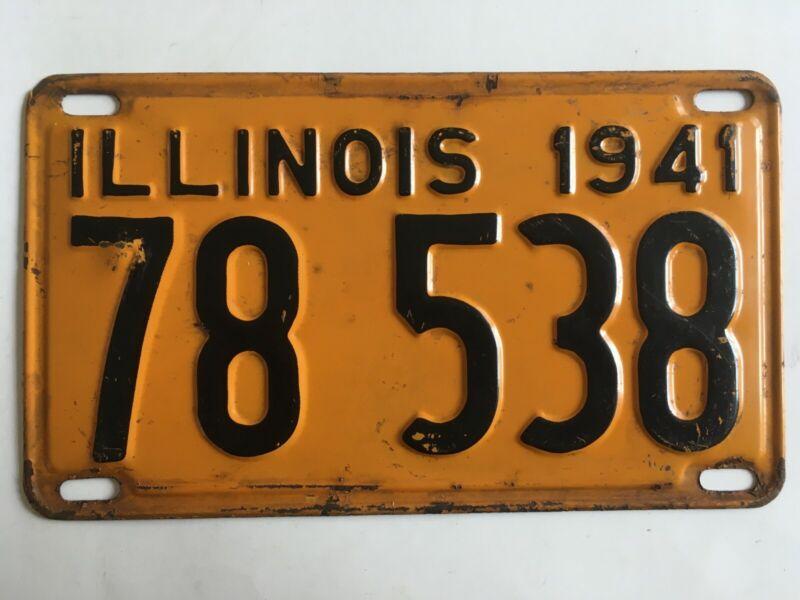1941 Illinois License Plate 100% All Original Paint