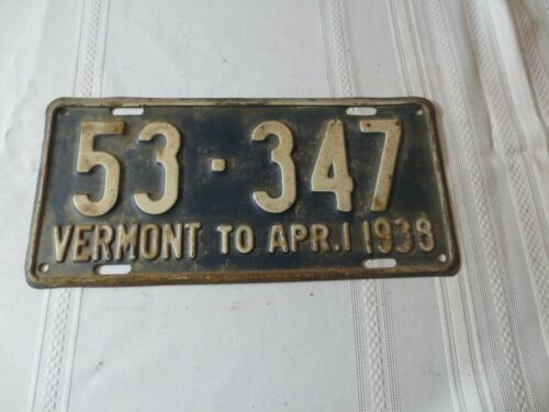 1937-38 VERMONT LICENSE PLATE 53-347