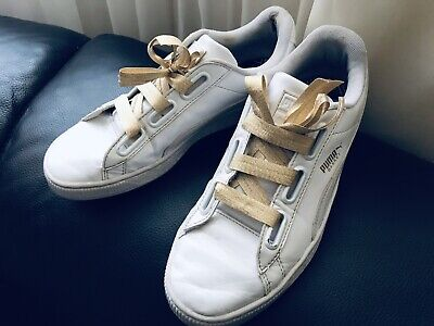 Puma Basket Heart White Patent Trainers With Gold Laces Size 6 Eu39