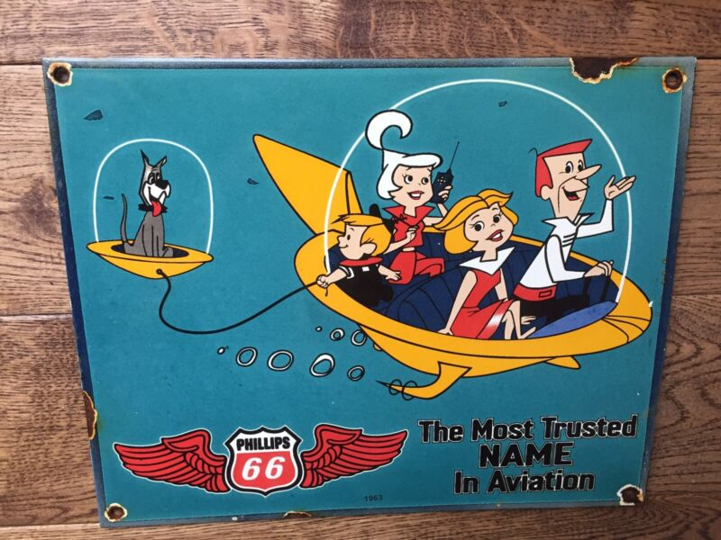 """Vintage Phillips 66  The Jetson's Heavy Porcelain Advertising Sign 12""""x10"""""""