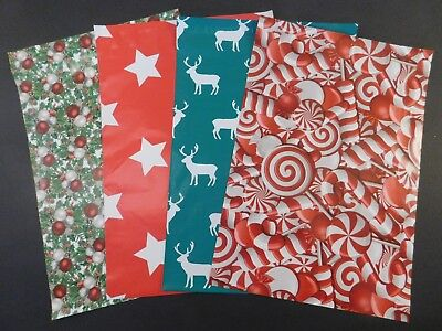 100 10x13 Candy Cane Christmas Deer Stars Poly Shipping Mailers Envelopes Bags