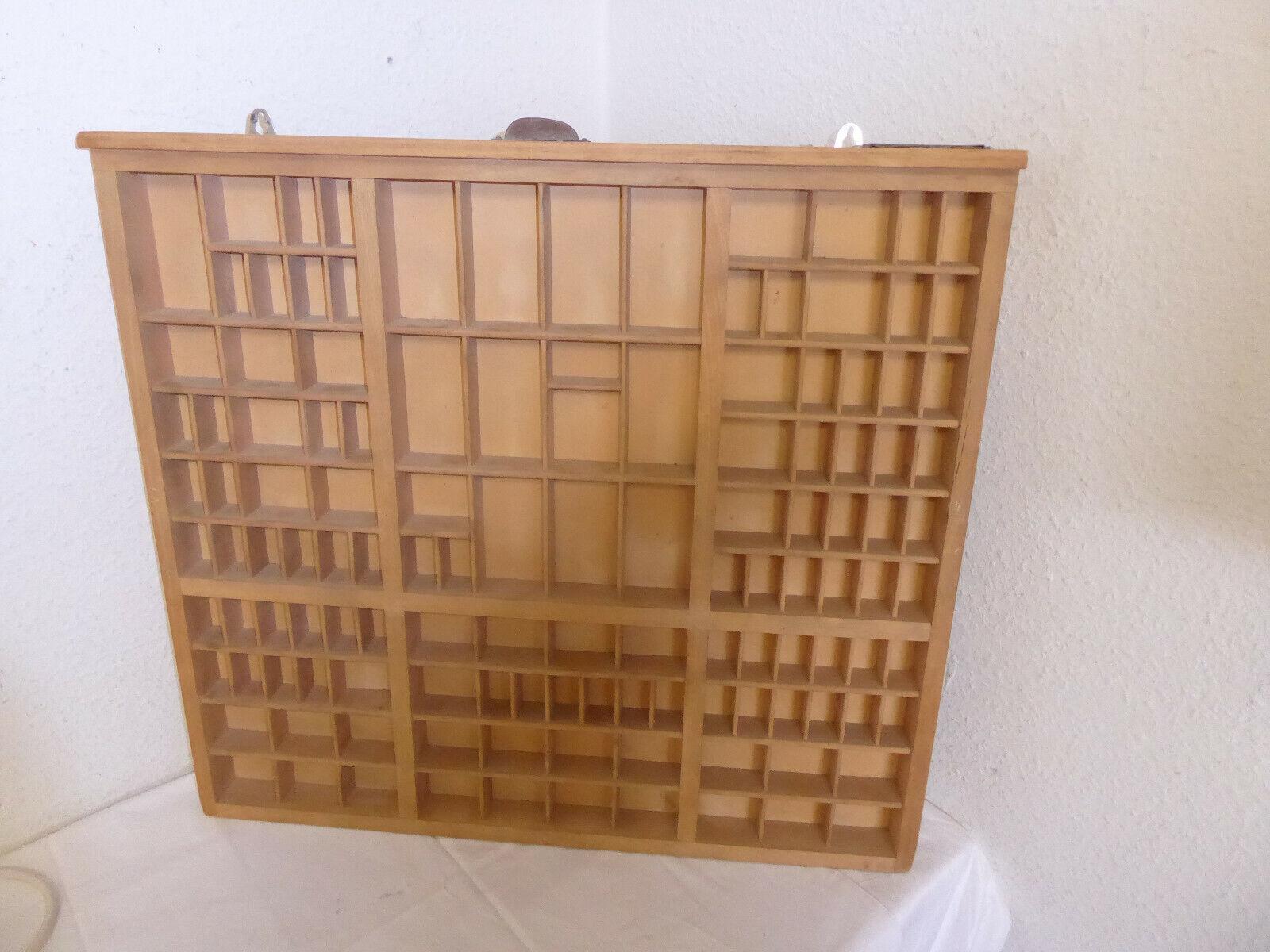 Großer Antiker Original Setzkasten Holz Druckerei Regal 0