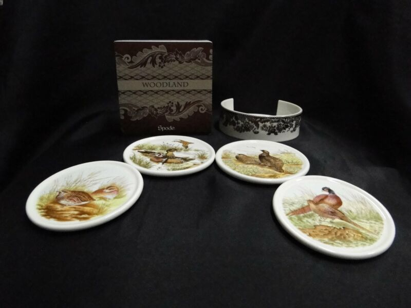 Spode Woodland Quail, Wood Duck, Grouse, Pheasant: 4 Coasters & Holder, Box