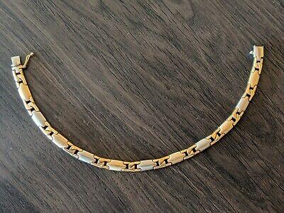 14k Two Tone Gold Mens Link Bracelet (14k Two Tone Gold Bracelet)