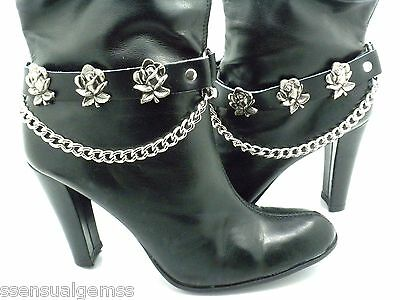 Roses Black Leather Biker Western Boot Straps W Chain Buckle Women's New PAIR
