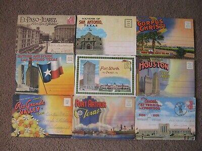 Vintage  Lot  (40)  TEXAS   souvenir  POSTCARDS and (9) POSTCARD FOLDERS  Souvenir Postcard Folder