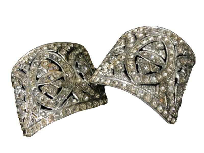 SIGNED Vintage RHINESTONE Scarf or Shoe Clips DEAUVILLE Antique ART DECO Jewelry