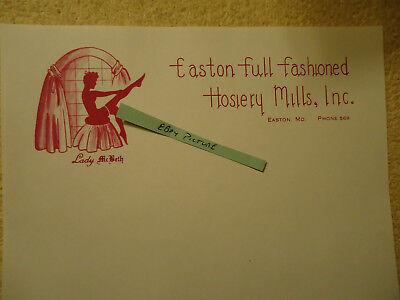 Easton full fashioned Hosiery Mills Inc Lady McBeth brand EASTON MD letterhead