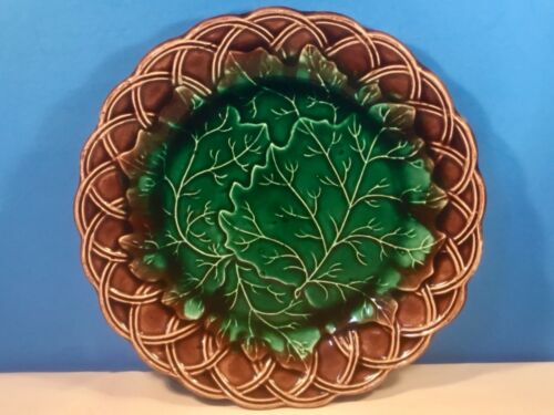 Rare Antique Scottish Majolica Leaves & Basketweave Plate c1800's Signed