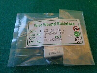 Ceramic Wire Wound Resistors 5w 7 Ohms 5 Pieces
