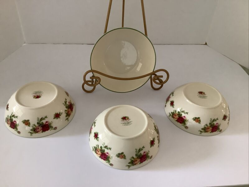 ROYAL ALBERT OLD COUNTRY ROSES CASUAL CLASSICS GREEN CEREAL BOWLS
