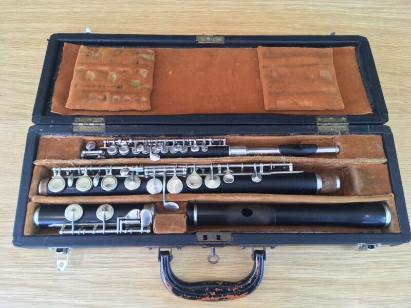 Antique 1939 Mollenhauer & Son Guards Flute And Rampone Alto Piccolo, Boxed Pair