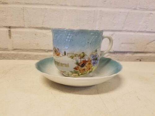 """Ant German Porcelain """"Forget Me Not"""" Mustache Mug w/ Saucer & Blue Floral Dec."""