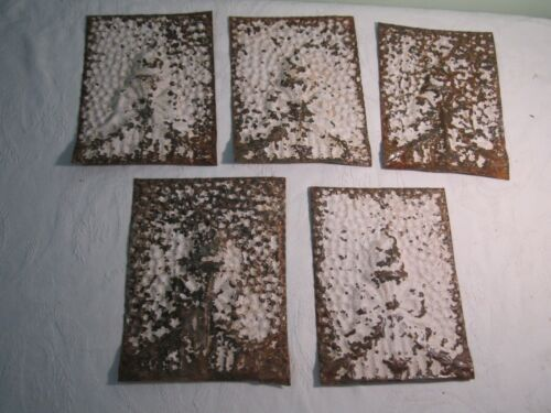 Vintage 5 pc Lot Embossed Ceiling Tile Tin Reclaimed Salvage Flame Bowtie