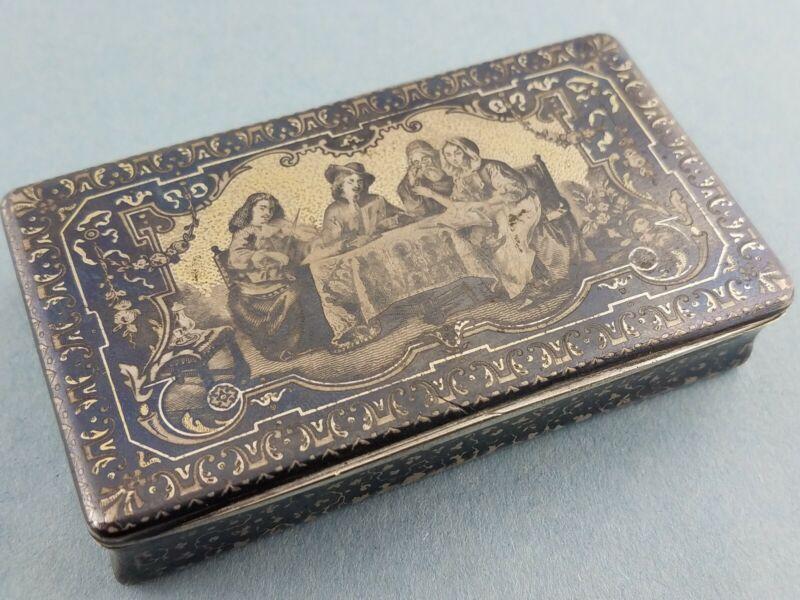 Fabulous French Silver Gilt & Niello Box w/ figural scene c1800