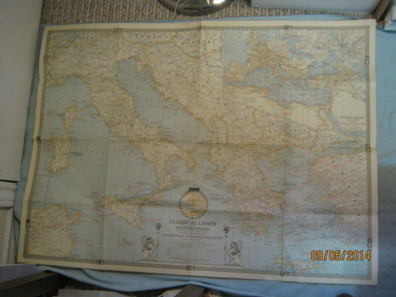 VINTAGE CLASSICAL LANDS OF THE MEDITERRANEAN MAP March 1940 National Geographic