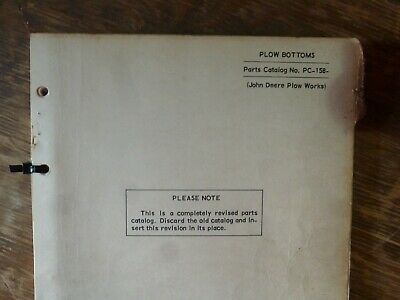 John Deere 40 Plow Bottom Parts Catalog Manual Book Original Pc-158