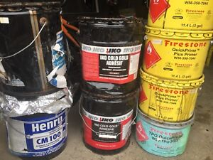 Roofing adhesive, primer and membrane