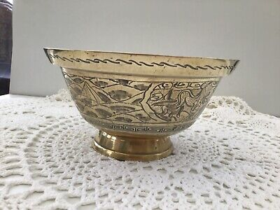 Vintage Chinese Solid Brass Engraved Design Decorative 8inch Footed Bowl