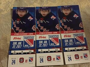 Kitchener Rangers - Sunday Jan 22 - 3 seats