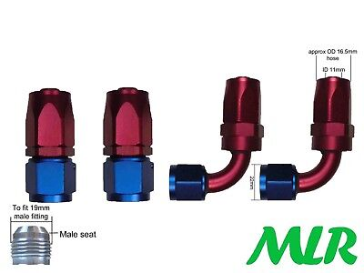 MLR AN-8 JIC STRAIGHT & 90° RED BLUE OIL COOLER REMOTE FILTER HOSE PIPE FITTINGS