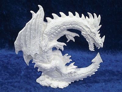 Ready to Paint Ceramic Bisque Moon Dragon, unpainted; U-paint