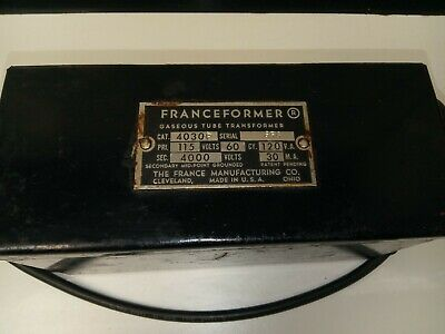 The France Manufacturing Co. Franceformer Gaseous Tube Transformer Made In Usa